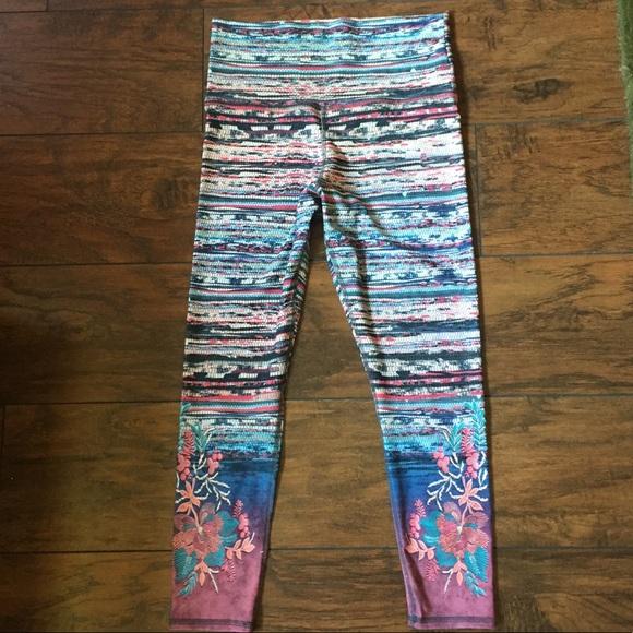 ? Pants - Stripey floral leggings yoga pants // m